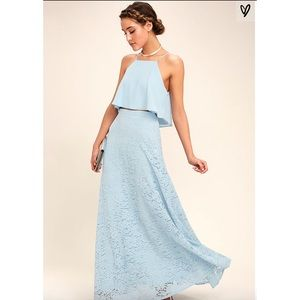 Lulu's Powder Blue Maxi Lace 2 piece Dress